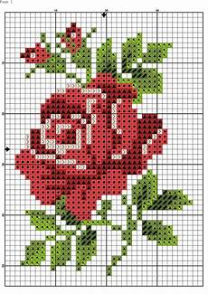 Red Rose Chart Floral Cross Stitch Cross Stitch