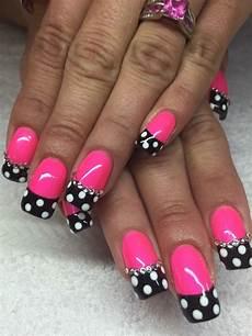 Black White And Pink Nail Designs Pink And Black With Polkadots Nails Nailart Black