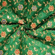 embroidery fabric buy green and golden flower design silk embroidery fabric