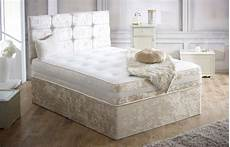 divan bed with memory foam and headboard in crushed velvet