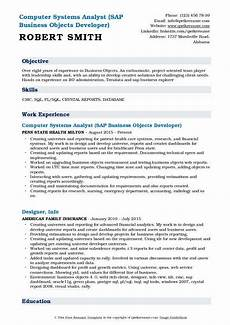 Business Objects Resume Samples Computer Systems Analyst Resume Samples Qwikresume