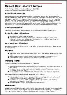 Curriculum Vitae Examples For Students Student Counsellor Cv Sample Myperfectcv