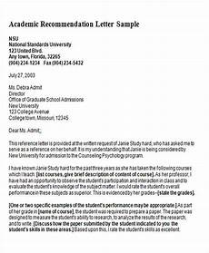 Academic Letter Of Recommendation Sample 8 Sample Generic Recommendation Letter Free Sample