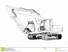 Malvorlage Bagger Bruder Excavator Illustration Isolated Drawing Stock
