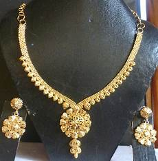 22k Gold Indian Jewellery Designs 22k Gold Plated Indian Wedding Fashion Necklace Earrings