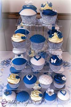 royal blue white silver wedding anniversary cupcakes