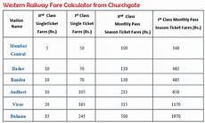 Western Railway Fare Chart Local Train Fare Chart Mumbai Local Train Fare Chart 2018