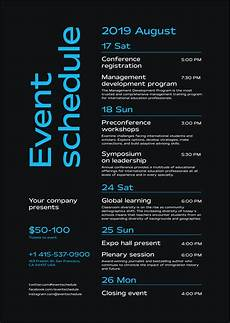 Conference Program Design Template Schedule Event Poster Template Event Schedule Design