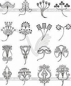 einfache florale ornamente im jugendstil vektorisiertes