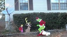 The Grinch Pulling Down Lights The Grinch Is Stealing Our Lights Youtube