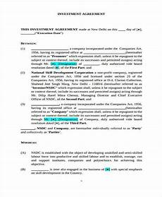 Sample Investor Agreement Free 9 Investment Agreement Forms In Pdf Ms Word