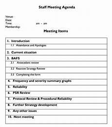 Agenda Of Meeting Sample Format Free 5 Staff Meeting Agenda Samples In Pdf