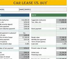Rent Vs Lease Car Car Lease Vs Buy Calculator