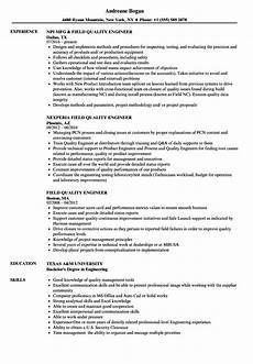 Quality Engineer Resume Samples Field Quality Engineer Resume Samples Velvet Jobs