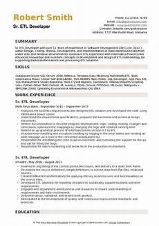 Etl Testing Resume Senior Etl Developer Resume Samples Qwikresume