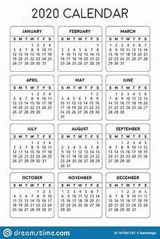 A4 Calendar Template Printable 2020 Calendar A4 Size Calendar 2020 Stock