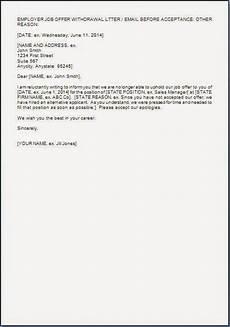 Rescind Letter Sample Rescinding Job Offer Letter