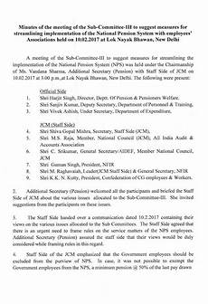 Meeting Of Minutes Minutes Of The Meeting Of The Sub Committee Iii To Suggest
