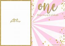 First Birthday Invitation Templates Free Free 1st Birthday Invitation Pink And Gold Glitter