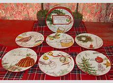 WILLIAMS SONOMA CHRISTMAS CAROLS SALAD DESSERT PLATES  SET