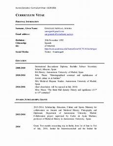 Tabular Cv Template Cv English On Tabular Form