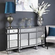 montgomery 3 drawer 4 door mirrored sideboard cabinet
