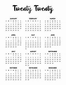 One Year Calendar 2020 Free 2020 Calendar Printable One Page