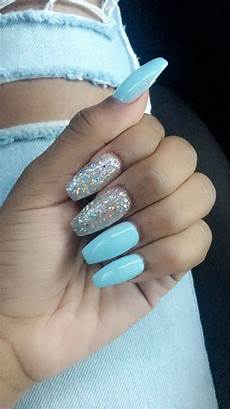 Light Blue Nails Coffin Blue Coffin Nails With Glitter Blue Coffin Nails Baby