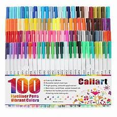Caliart Markers 100 Color Chart Caliart Fineliner Pens 100 Colors Fine Line Drawing Pen