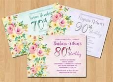 80th Birthday Invitation Flowers Party Invitation 80th Birthday