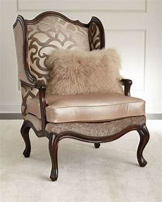 massoud charna fabric leather wing chair leather wing