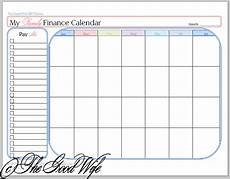 Printable Budget Calendar The Good New Budget Worksheet Finance Calendar And
