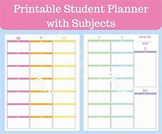 Student Subject Planner Student Planner Printable With Subjects Middle School