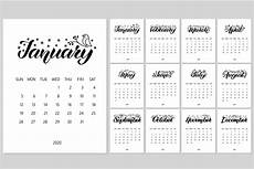 Year Calender Monthly 2020 Year Calendar Pre Designed Photoshop