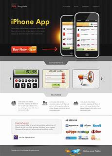 Iphone Apps Design Templates Iphone App Website Template Psd Graphicsfuel