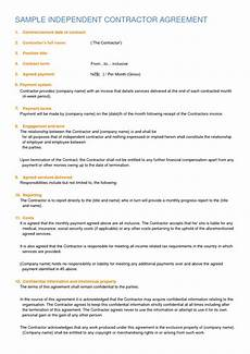 Contractor Contract Sample Independent Contractor Contract Sample Free Printable