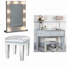zeus mirrored grey 3 draw dressing table stool