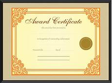 Template Of Award Certificate Gold Award Certificate Template For Word