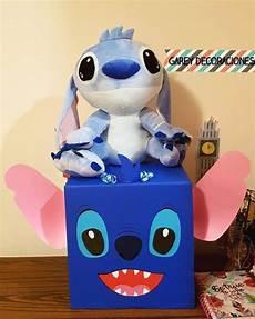 caja stitch con peluche y globos con helio cajas