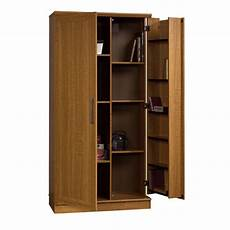 sauder home plus storage cabinet swing out door brown