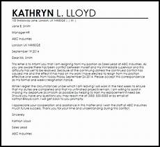 Nanny Resignation Letter Resignation Letter Example Due To Conflict Letter