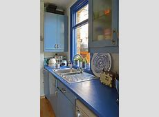 How To Update A Kitchen With Painted Worktops   Pillar Box Blue