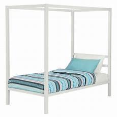 size white metal platform canopy bed frame no box