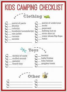 List For Camping Kids Camping Checklist Clean And Scentsible