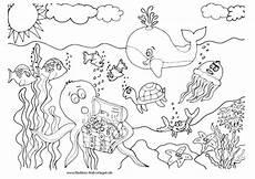 Ausmalbilder Fische Meer Meeresbewohner Schatzkiste Im Meer Nadines Malvorlagen