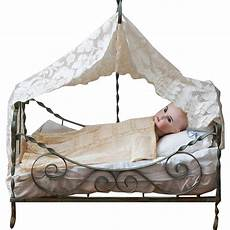 antique formed metal doll bed with canopy c