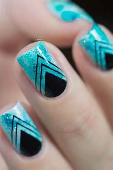 Black And Teal Nail Designs Nail Art Teal Sponging Black Stamping 05 Nails