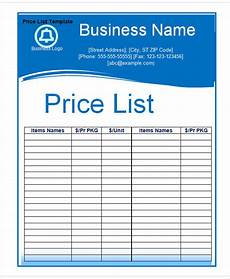 Free 8 Price Chart Templates In Ms Word Pdf Excel