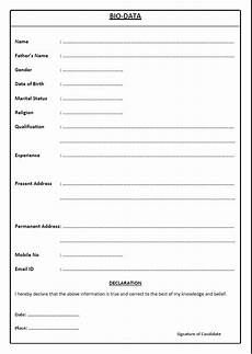 Basic Biodata Format Basic Resume Bio Data