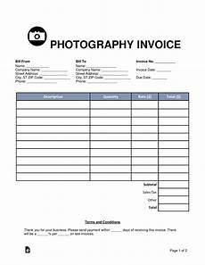 Invoie Template Free Photography Invoice Template Word Pdf Eforms